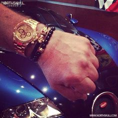 Fan Instagram Pic !   @richerthanyouasshole Posted A Cool Photo Of His Gold Daytona Rolex Nicely Layered With Our Black Nappa Leather / 18kt. Gold Twin Skull Bracelet & Black Onyx / 18kt. Gold Perforated Skull Bracelet   The Bugatti Is A Nice Touch!   Available now at Northskull.com   For A Chance To Get Featured Post A Cool Photo Of Your Northskull Jewelry With The Tag #Northskullfanpic On Instagram