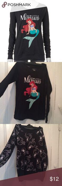 """little mermaid REVERSIBLE sweatshirt black sweatshirt featuring the classic """"The Little Mermaid"""" logo on the front, and is reversible to another mod pattern of Ariel's face, super adorable for any Disney fan, size tag was removed but is a size extra small, never worn cheaper on my merc: bbyg521 Disney Tops Sweatshirts & Hoodies"""