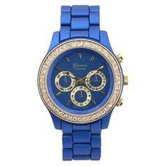 Women's Geneva Platinum Rhinestone Accent Chronograph Link Watch - Assorted Colors