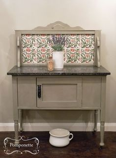 Edwardian Washstand. @Annie Compean Sloan Chateau Grey #chalkpaint on the exterior, Scandianian Pink lightened to compliment the detail on the tiles on the interior. #morethanpaint
