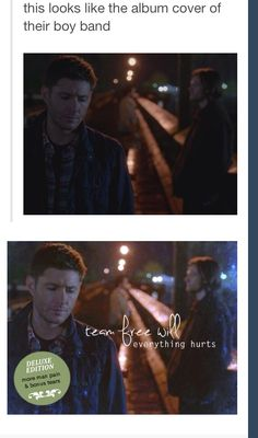 This is funny! This looks like the cover of their boy band - Supernatural Funny - Dean Winchester, Sam Winchester, Castiel