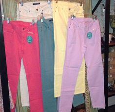 Look at these fabulous new colors we just got in our skinnies!!!! $69.  Tula J Boutique is a trendy boutique in Trussville, AL that carries ladies and tween clothing, purses, shoes, jewelry, accessories, and more! Call (205) 655-5333 or stop by TODAY!