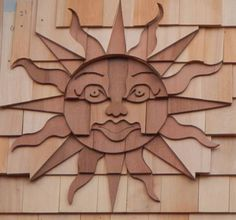 Sun shingle art by Jolly Roger Woodworking, Eastham, MA https://www.facebook.com/JollyRogerWoodworking/