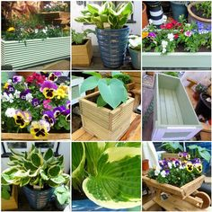 Flower trough window box ect. Made with pressurised timber decking painted with ronseal sapling gr
