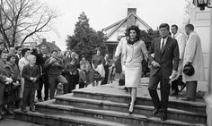 1963-04-01: President John F. Kennedy and First Lady Jacqueline Kennedy leave the Middleburg Community Center after attending Roman Catholic Church services.