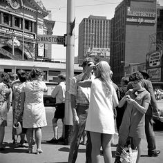 Late 1960s by Angus O'Callaghan cnr Swanston and Flinders St. (Flinders St. Station on left). Melbourne Australia