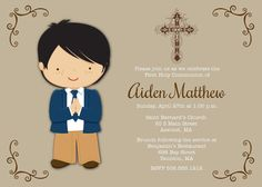 First Communion Invitation  Boys 1st Holy by AnnounceItFavors