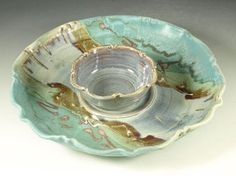 Chip and Dip set - Handmade stoneware pottery by Hodakapottery on Etsy