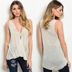 Oatmeal Sleeveless Wrapped Neckline Bubble Hem Top New oatmeal colored lightweight sleeveless wrapped neckline and bubble hem top. Available in S, M, and L. Only one L left.                                  100% rayon.                                                                   Made in USA. Boutique Tops Blouses