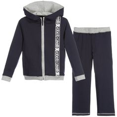 Boys Navy Blue Hooded Tracksuit, Roberto Cavalli, Boy Roberto Cavalli,  Hoods, Navy e604bfd324c