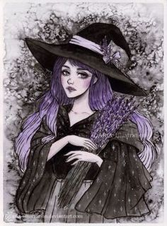 Day6 Inktober - Lavender Witch by ARiA-Illustration