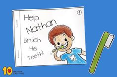 Help Nathan Brush His Teeth - Little Book Health Activities, Book Activities, Healthy Habits For Kids, Dot To Dot Printables, Dental Hygiene School, Teeth Dentist, Brush My Teeth, Little Books, Dental Health