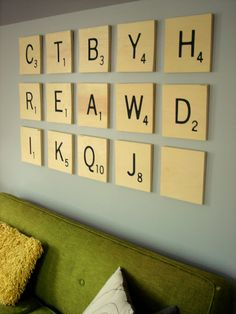 Scrabble Wall - large scale wooden tiles for decorating over the sofa or anywhere