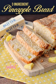 This pineapple bread is easy to make with only 3 ingredients and no yeast!  Use either fresh pineapple or canned pineapple to make a fun sweet treat.