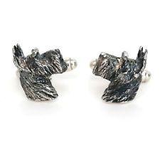 Sterling Silver 925 dog schnauzer scottie terrier cufflinks Lot 304