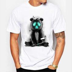 Panda Shirt, Customise T Shirt, Basic Tops, Halloween Design, Funny Tees, Animal Design, Slim Fit, New Fashion, Sleeve Styles