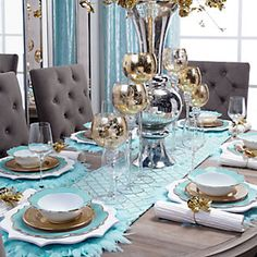The Chic Technique:  Light blue or aqua and gold tablescape or table setting.