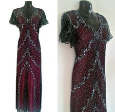 Abbey Vine Red Embellished Sequin Dress 1920s Great by Jywal