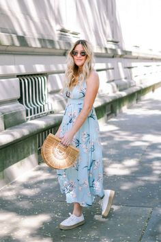 Danielle of Pineapple & Prosecco wears Nordstrom Tie-Front Floral Dress, Superga Platforms and Cult Gaia Bamboo Clutch / See the full post!