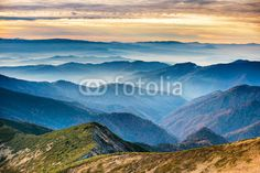 Fototapete - Blue mountains and hills