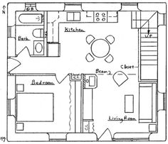 1-1/2 Story Earthbag Bungalow - 3 Bed, 3 Bath, 1,135 sq. ft., 2 Storey - Notes: Kinda weird layout…