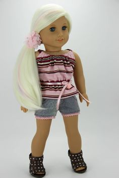 Handmade 18 inch doll clothes - Pink and denim 4 piece shorts outfit (608) by DolliciousClothes on Etsy
