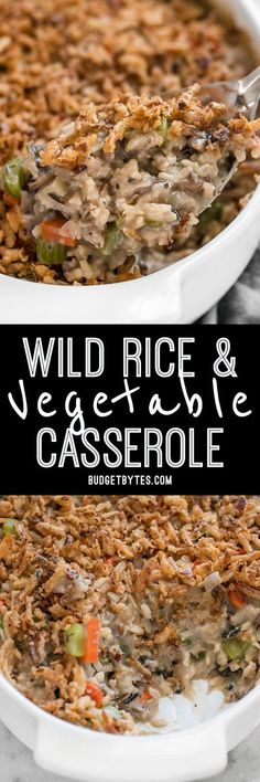 Plenty of vegetables, a hearty wild rice blend, and a super creamy sauce make this Wild Rice and Vegetable Casserole a warm comforting dish for winter! Easy swaps to make vegan. #vegetarianrecipes #vegetarian #rice #casserole #sidedish #easyrecipes #easyrecipe