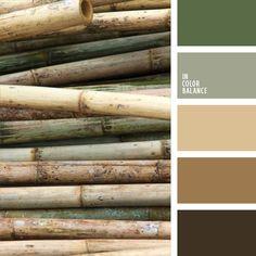 azul grisáceo, beige y marrón, color verde apagado, color verde bambú, colores para el ecodiseño, marrón claro, marrón oscuro, marrón y verde, tonos fríos del marrón, tonos naturales, verde grisáceo.