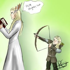 Thranduil and Legolas. Are you sure you want him to aim higher, Thranduil? ~ Lol he might get your head. Thranduil Funny, Legolas And Thranduil, Jrr Tolkien, O Hobbit, An Unexpected Journey, Fanart, Aim High, Elvish, Middle Earth