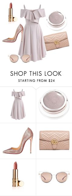 """""""Cute Colors"""" by annamljansen ❤ liked on Polyvore featuring Chicwish, rms beauty, Christian Louboutin, Gucci and Fendi"""