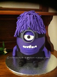 Coolest Purple Evil Minion Cake... This website is the Pinterest of birthday cake ideas