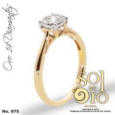 Anillo de compromiso de oro 14k con diamantes. RD$26,000
