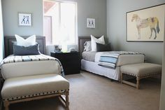 hole-in-one parade home   st. george, utah   by alice lane home collection   kids room, boys' room, twin beds, upholstered headboard