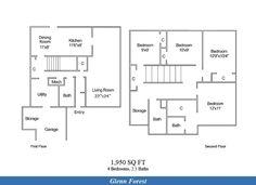 NAS Patuxent River – Glenn Forest Neighborhood: 4 bedroom 2.5 bathroom townhome floor plan.
