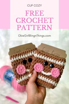 Gingerbread Cup Cozy - Free Crochet PatternThanks ingridkortendieck for this post.This is a great project to whip up to take to markets and people love them! This is my most popular 'Christmas' Cup Cozy that I have made yet! Crochet Coffee Cozy, Crochet Cozy, Free Crochet, Coffee Cozy Pattern, Coffee Cup Cozy, Quick Crochet, Crochet Granny, Crochet Christmas Decorations, Free Christmas Crochet Patterns