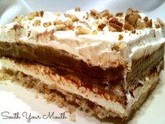 4-Layer Robert Redford Dessert   This layered dessert recipe truly is the next best thing to Robert Redford. I especially love the pecan topping and the cream cheese layer!
