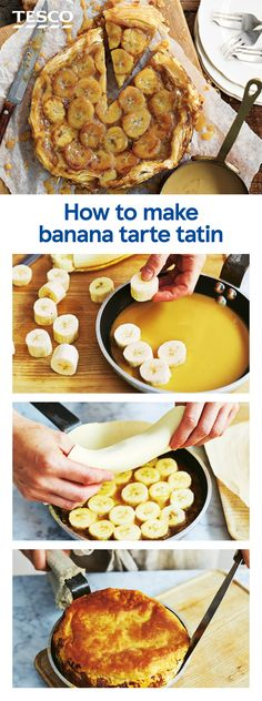 Get gloriously sticky and learn how to make a sweet banana tarte tatin with this easy step-by-step recipe. With a sticky toffee topping and flaky pastry base, this simple recipe makes a real treat dessert. | Tesco