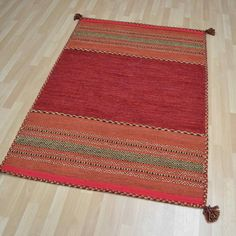 Kelim rugs in red buy online from the rug seller uk Ethnic Looks, Rust Color, Color Shades, Tassels, Hand Weaving, Nightingale, Colours, Rugs, Crafts