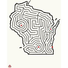 Imaginary Animal Wisconsin Maze 12x16 Offset Print Off White By ($17) ❤ liked on Polyvore featuring home, home decor, wall art, posters, handmade wall art, animal posters, map poster, handmade home decor and wall posters