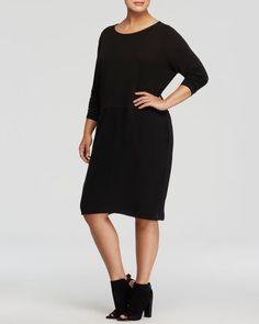 Eileen Fisher Plus Scoop Neck Silk Dress