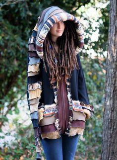 Custom Made to Order Recycled Sweater Coat Hoodie.  Guy .Unisex Elf  Large Hippie Grateful Dead Furthur