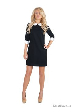 0059 Платье черное, белый воротник, белые манжеты купить в Украине, цена в каталоге интернет-магазина брендовой одежды Musthave