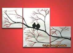 Canvas Art Ideas Acrylics - Love Birds in Tree Brance, ORIGINAL Large Wall Art 42 x 24, Silver Painting Trip... #acryl #canvasartideasacrylicspaletteknife #canvasartideasacrylicsstepbystep #canvasartideasacrylicsvalentinesday #canvasartideascute