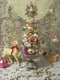 Потертый кисть бутылки Рождественская елка розовый ~ ~ W Vintage Mercury Украшения   eBay