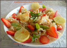 Strawberry Lemon Basil Pasta Salad#Improv - Sneha's Recipe Pasta Side Dishes, Pasta Sides, Tasty Dishes, Strawberry Basil Lemonade, Basil Pasta, Cooking Challenge, Lemon Basil, Easy Salads, Fresh Lemon Juice