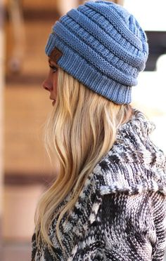 CC Luxe Cable Knit Beanie - Denim - ShopLuckyDuck
