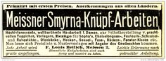 Original-Werbung/ Anzeige 1898 - MEISSNER SMYRNA KNÜPF-ARBEITEN/ BEILICH - MEISSEN  - ca. 90 x 30 mm