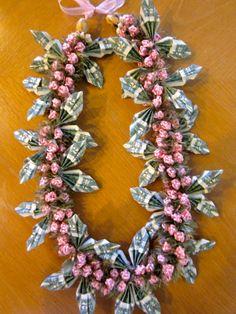 Beautiful Pink Money Lei. Money Lei, Aloha Party, Luau Party, Graduation Leis, Graduation 2016, Homemade Gifts, Diy Gifts, Coach Appreciation Gifts, Money Creation