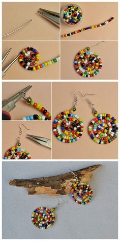 #Beebeecraft tutorials on how to make #colorful #seedbeads #earrings