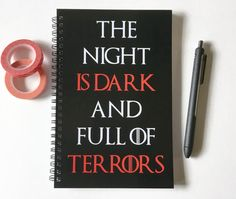 Writing journal, spiral notebook, sketchbook, bullet journal, blank lined or grid, Game of Thrones - The night is dark and full of terrors